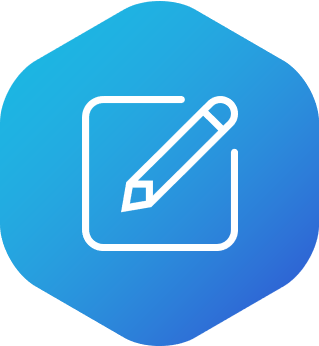 Icon showing pencil and paper