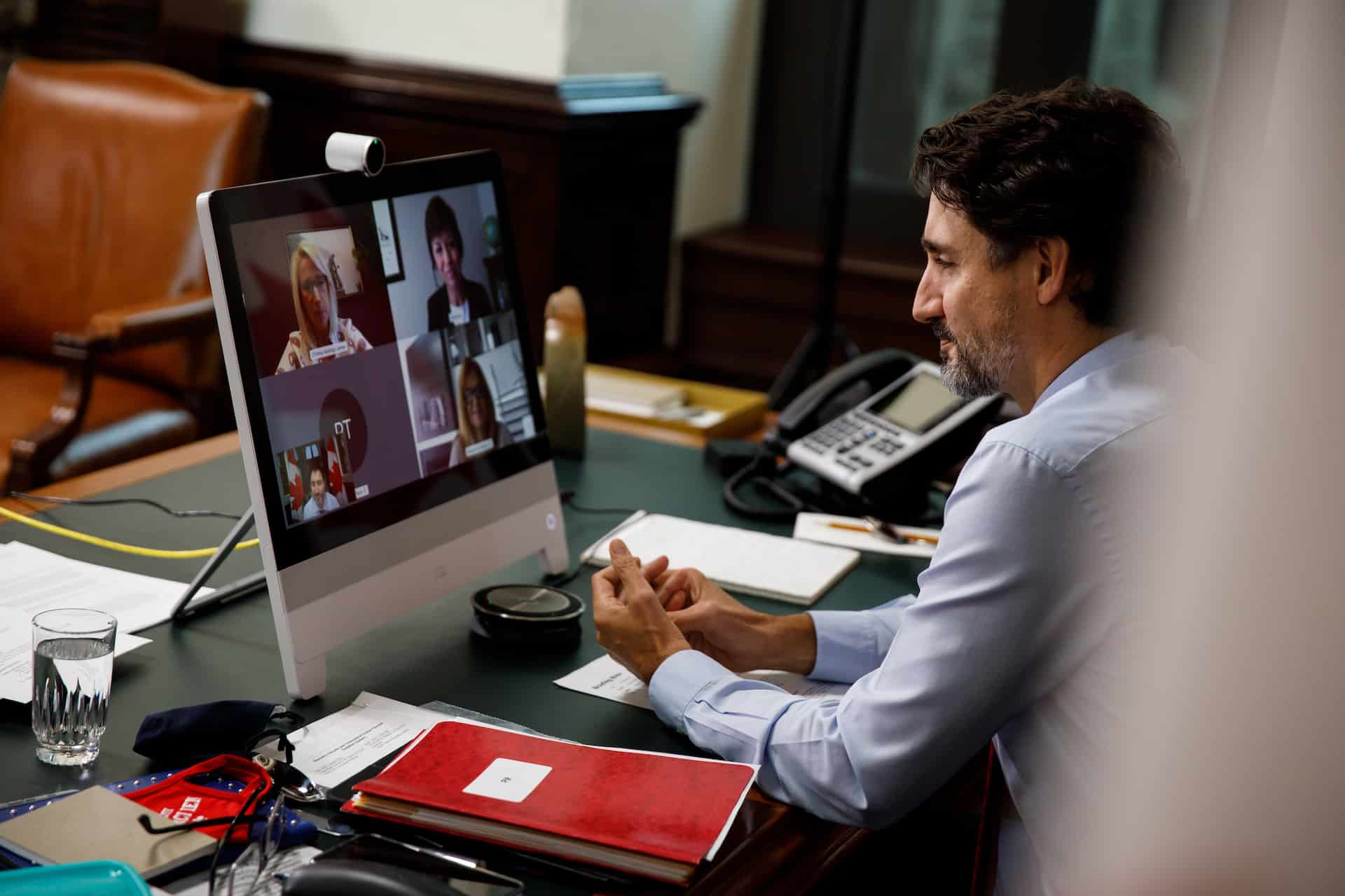Prime Minister Justin Trudeau on video conference call with Pam Damoff and Best Life Rewarded