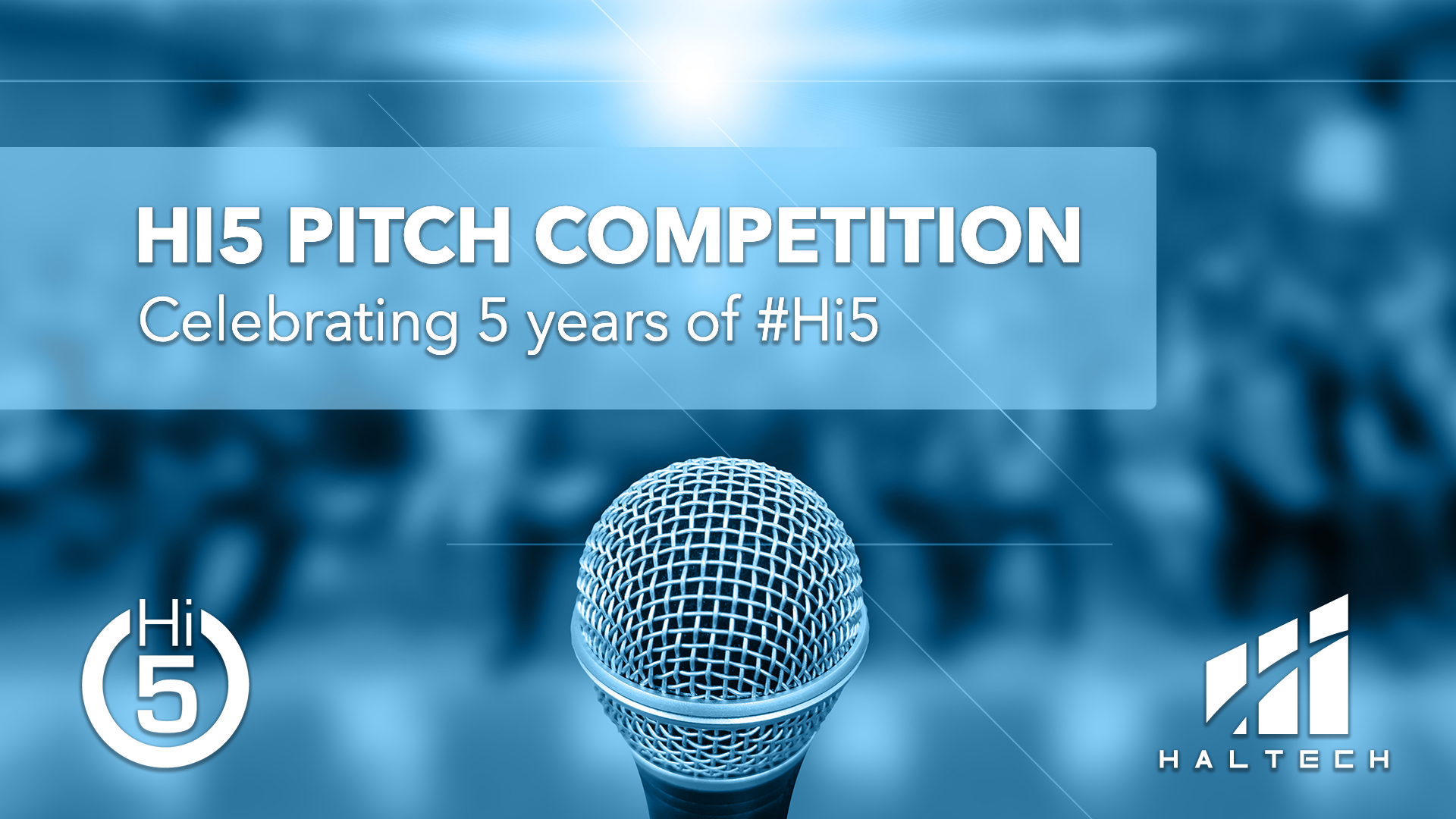 Graphic showing Hi5 Pitch Competition text overlaid onto image of microphone on stage